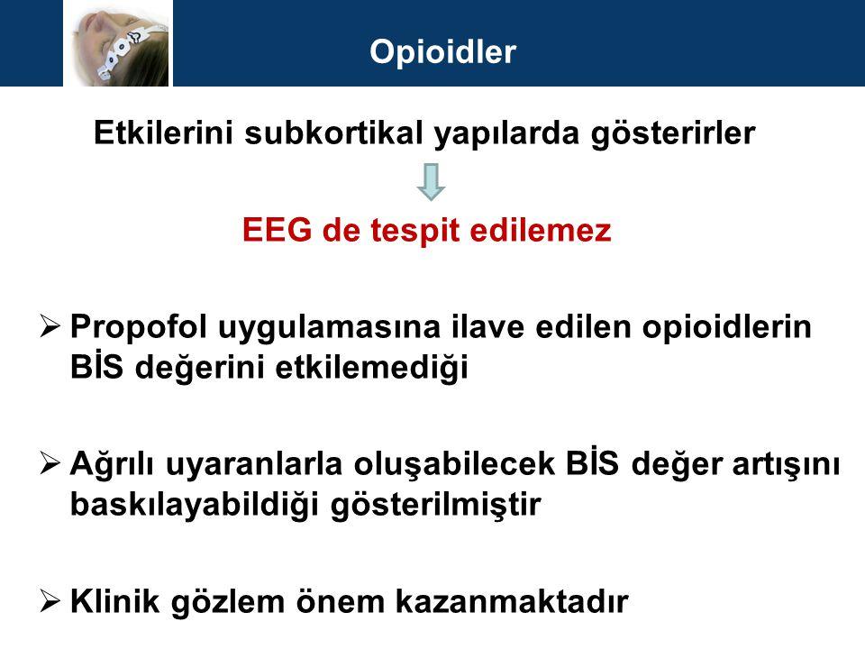Opioidler Etkilerini subkortikal yapılarda gösterirler. EEG de tespit edilemez.