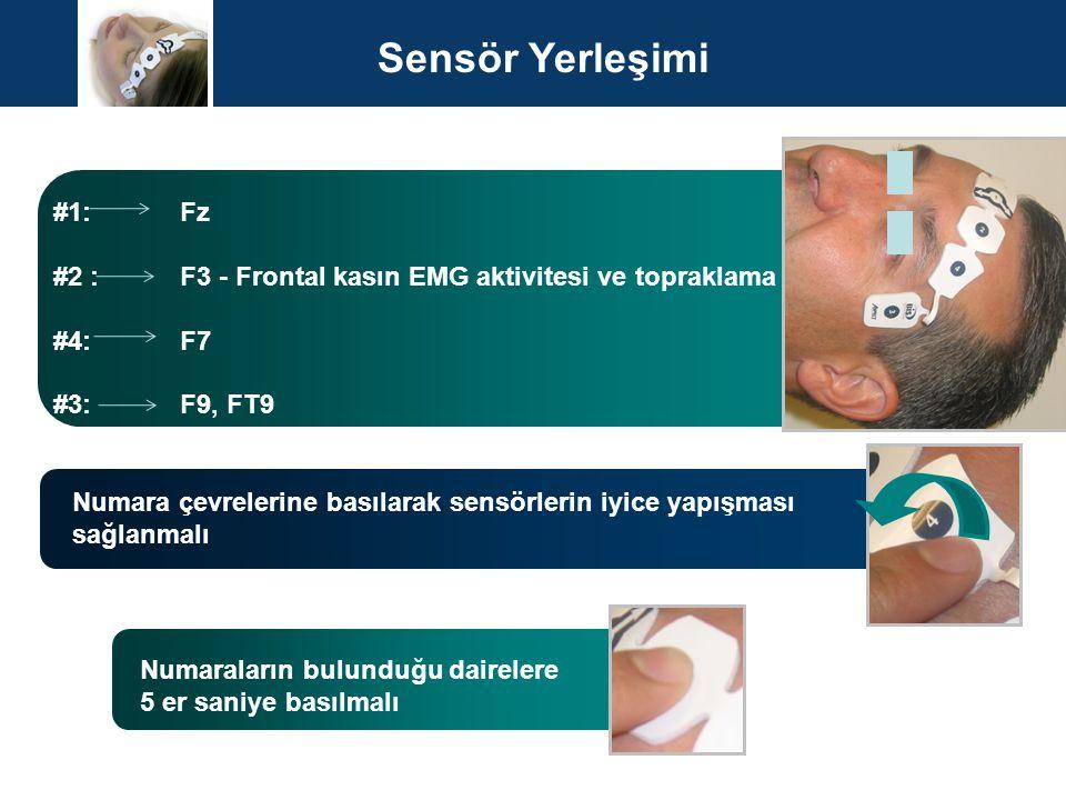 Sensör Yerleşimi #1: Fz. #2 : F3 - Frontal kasın EMG aktivitesi ve topraklama.