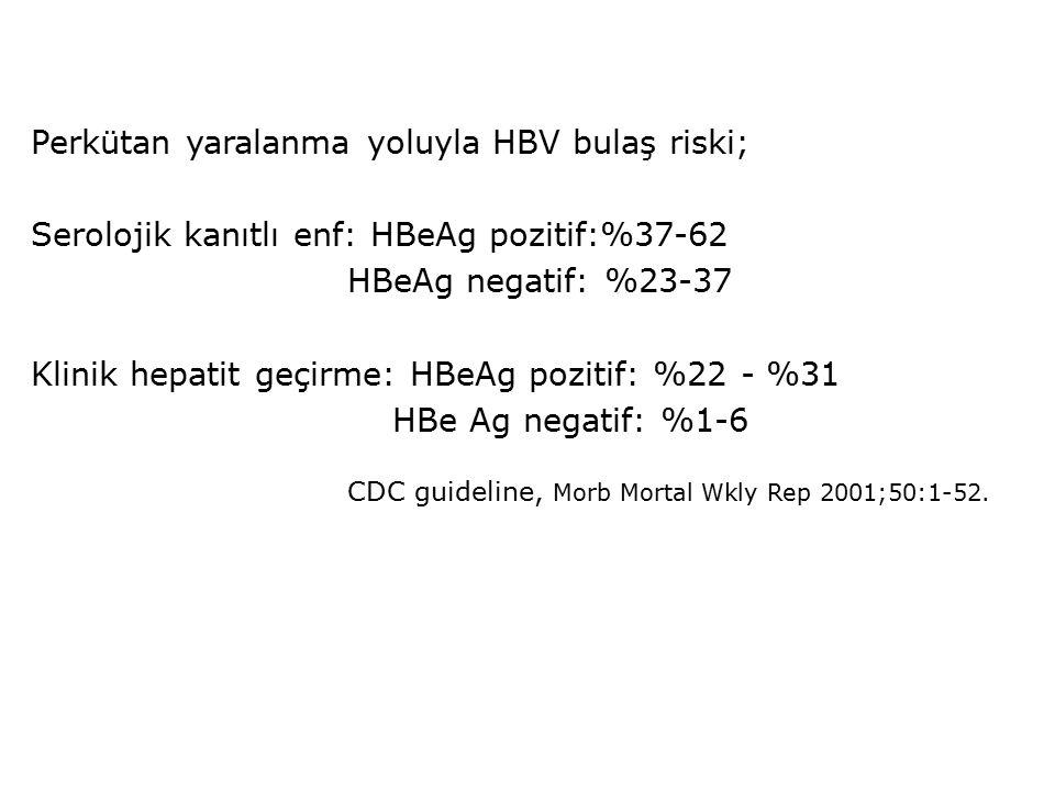 Perkütan yaralanma yoluyla HBV bulaş riski;