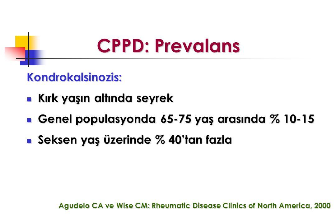 CPPD: Prevalans Kondrokalsinozis: Kırk yaşın altında seyrek