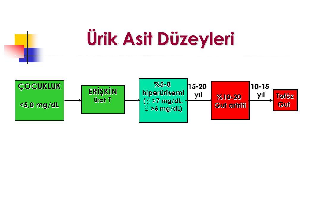 Ürik Asit Düzeyleri ÇOCUKLUK ERİŞKİN <5,0 mg/dL %5-8 hiperürisemi