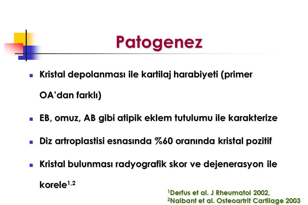 Patogenez Kristal depolanması ile kartilaj harabiyeti (primer OA'dan farklı) EB, omuz, AB gibi atipik eklem tutulumu ile karakterize.