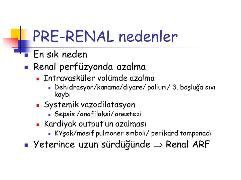 PRE-RENAL nedenler En sık neden Renal perfüzyonda azalma