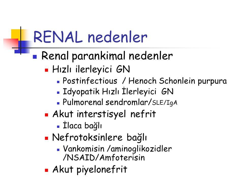 RENAL nedenler Renal parankimal nedenler Hızlı ilerleyici GN