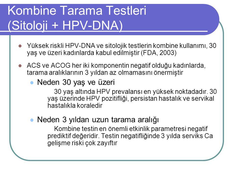 Kombine Tarama Testleri (Sitoloji + HPV-DNA)