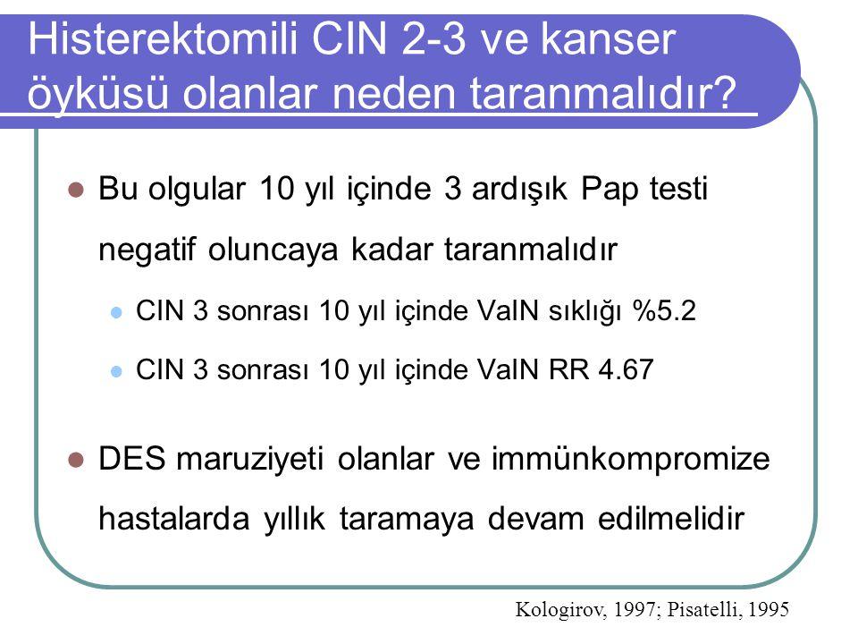 Histerektomili CIN 2-3 ve kanser öyküsü olanlar neden taranmalıdır