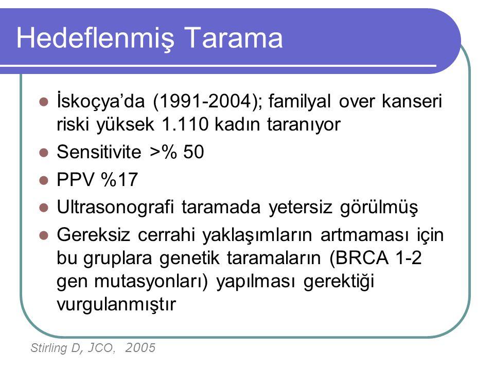 Hedeflenmiş Tarama İskoçya'da (1991-2004); familyal over kanseri riski yüksek 1.110 kadın taranıyor.
