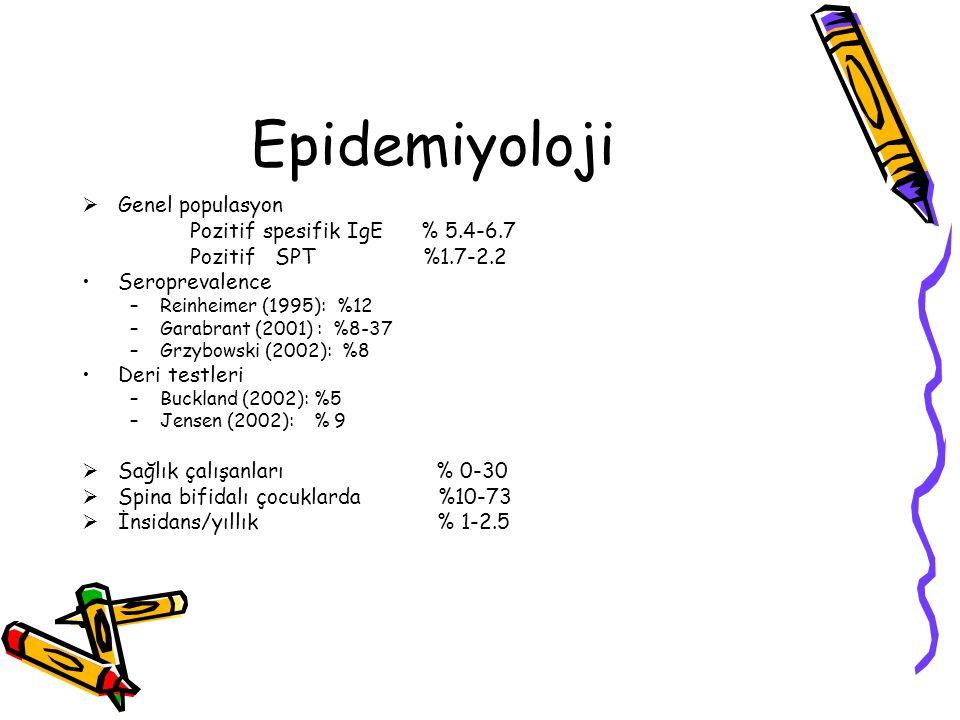 Epidemiyoloji Genel populasyon Pozitif spesifik IgE % 5.4-6.7