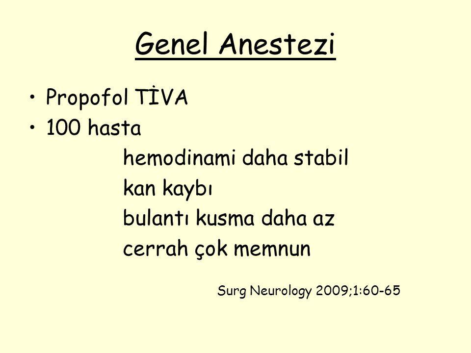 Genel Anestezi Propofol TİVA 100 hasta hemodinami daha stabil