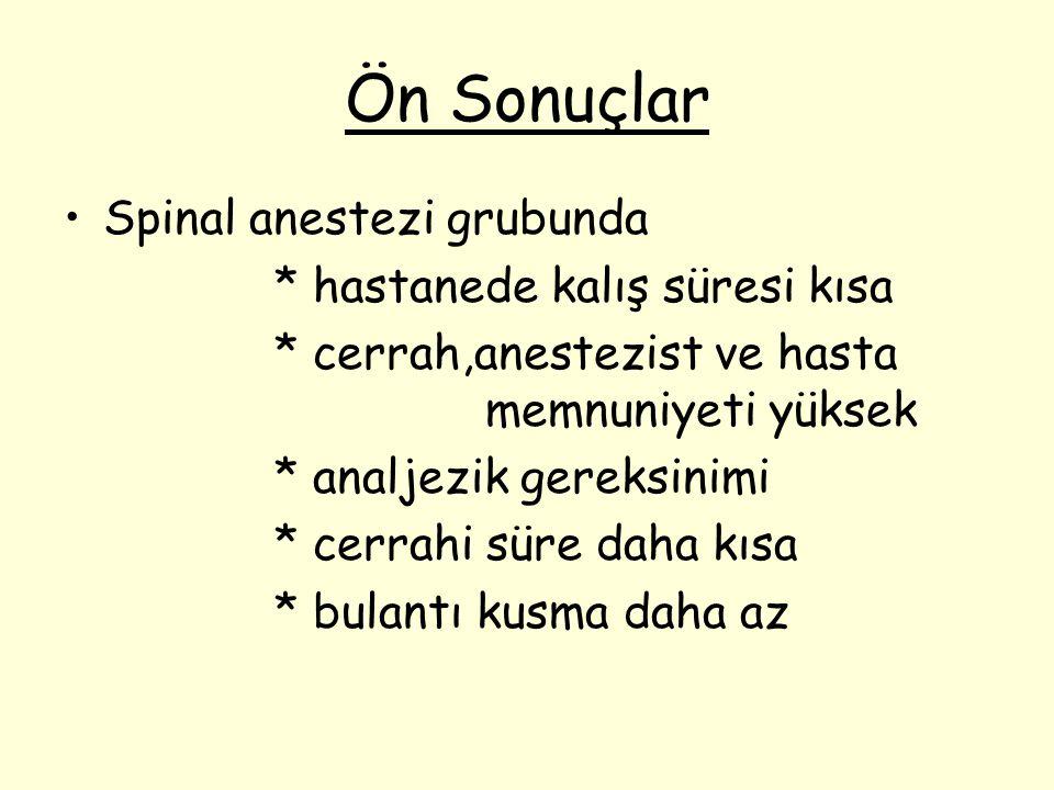 Ön Sonuçlar Spinal anestezi grubunda * hastanede kalış süresi kısa
