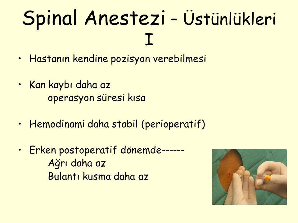 Spinal Anestezi – Üstünlükleri I