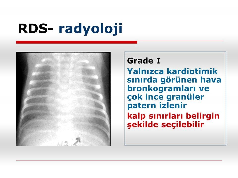 RDS- radyoloji Grade I. Yalnızca kardiotimik sınırda görünen hava bronkogramları ve çok ince granüler patern izlenir.