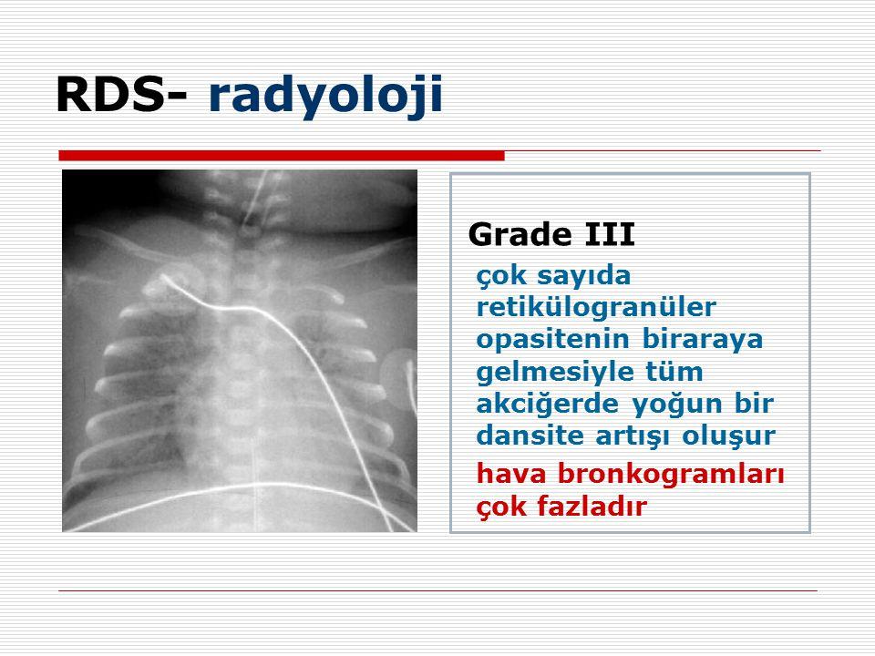 RDS- radyoloji hava bronkogramları çok fazladır Grade III