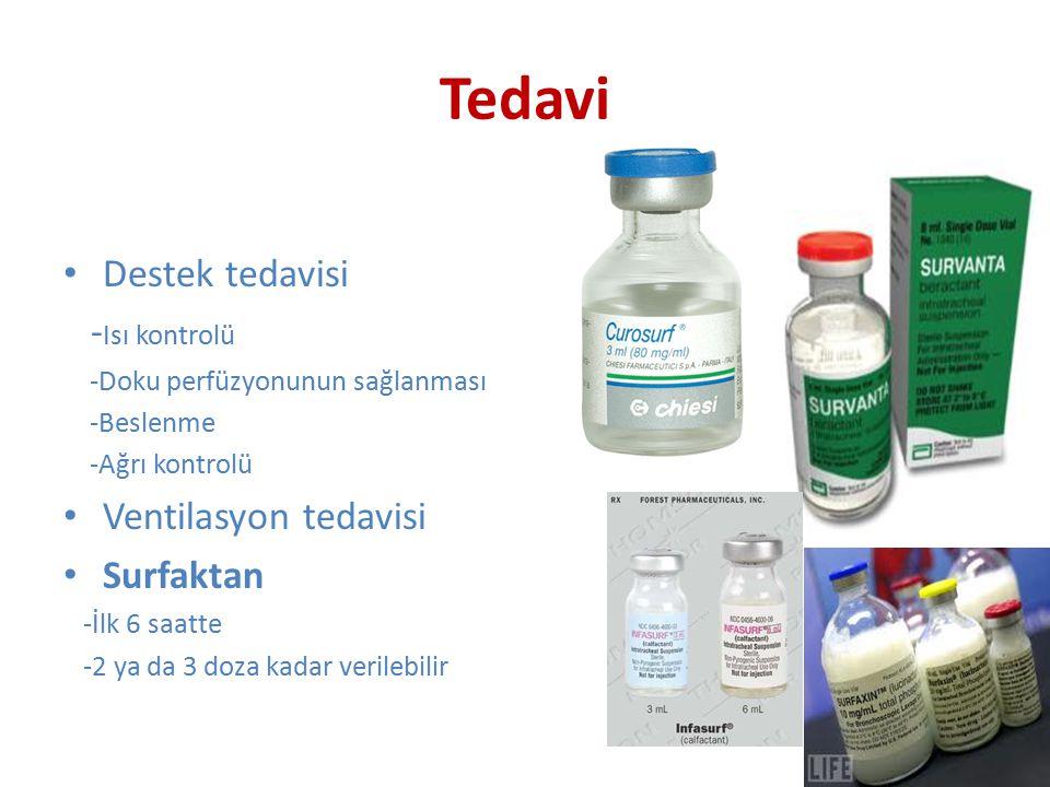 Tedavi Destek tedavisi -Isı kontrolü Ventilasyon tedavisi Surfaktan