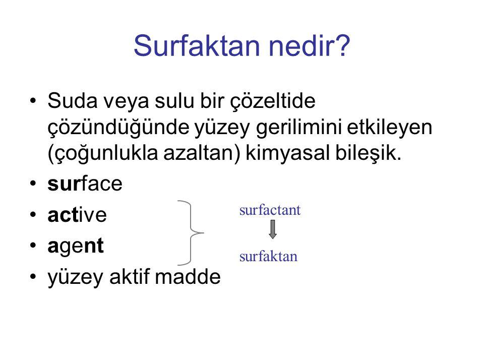 Surfaktan nedir Suda veya sulu bir çözeltide çözündüğünde yüzey gerilimini etkileyen (çoğunlukla azaltan) kimyasal bileşik.