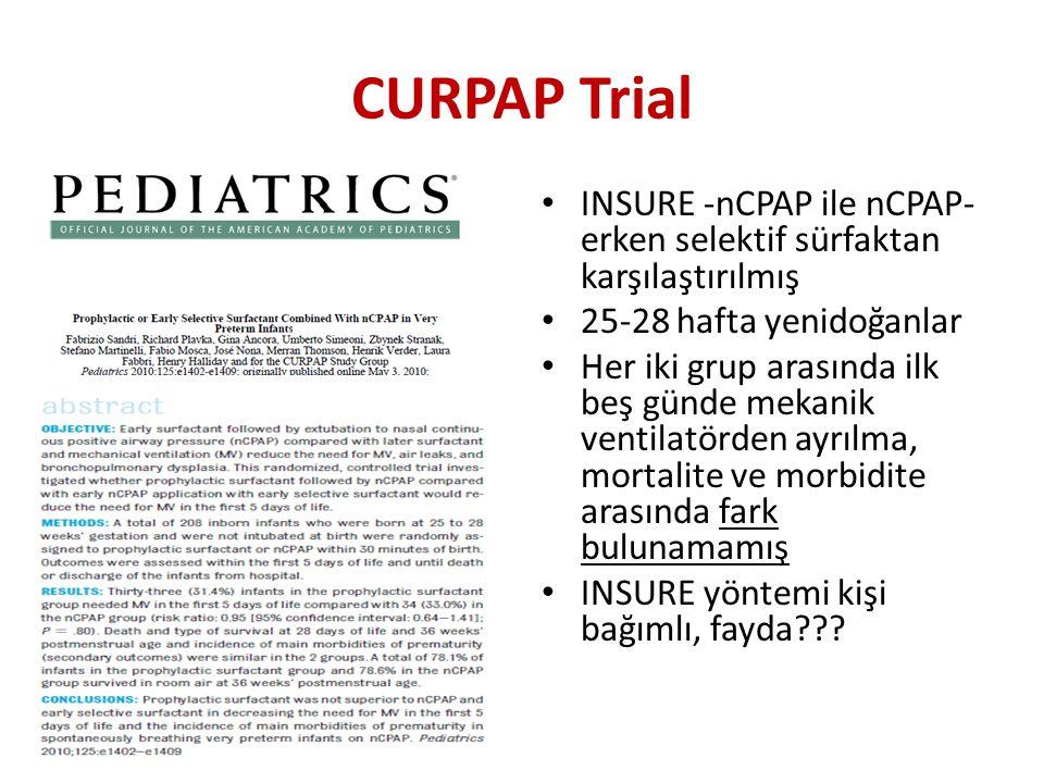 CURPAP Trial INSURE -nCPAP ile nCPAP-erken selektif sürfaktan karşılaştırılmış. 25-28 hafta yenidoğanlar.