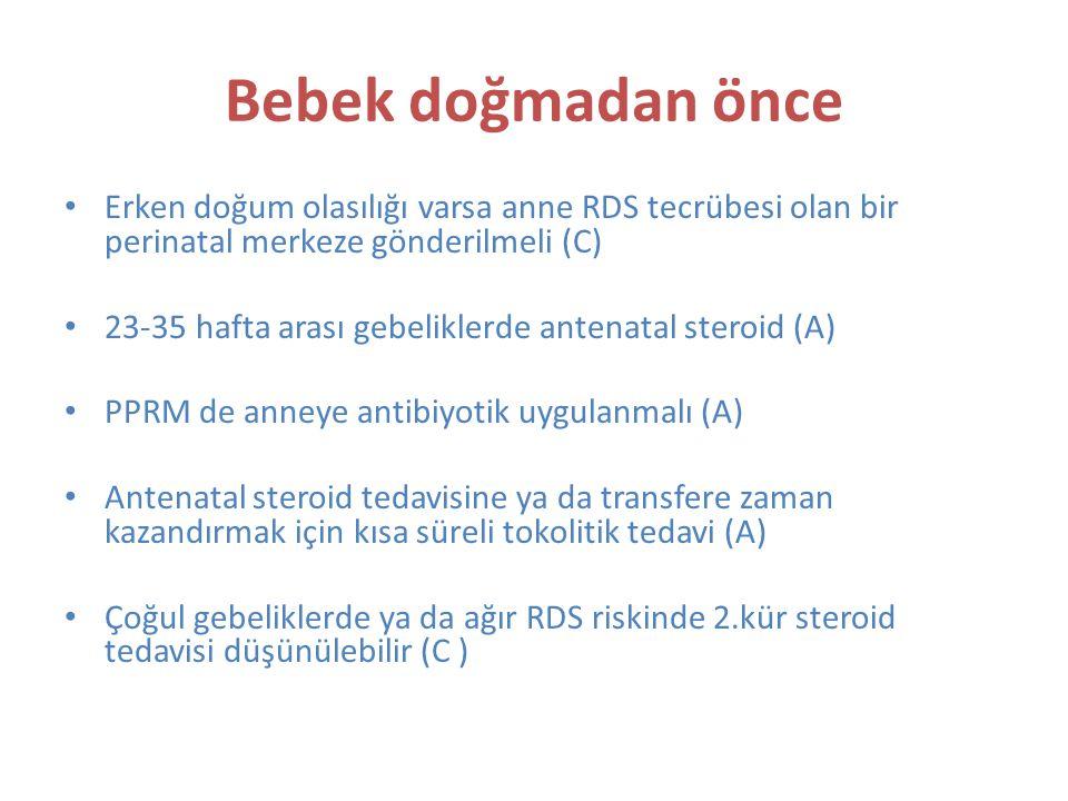 Bebek doğmadan önce Erken doğum olasılığı varsa anne RDS tecrübesi olan bir perinatal merkeze gönderilmeli (C)