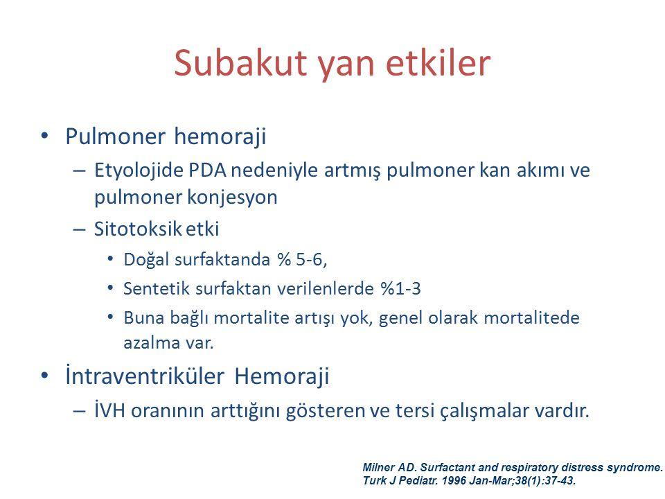 Subakut yan etkiler Pulmoner hemoraji İntraventriküler Hemoraji