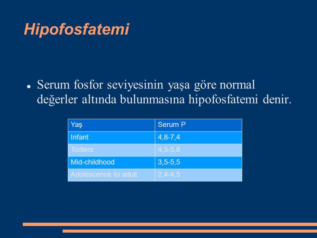Hipofosfatemi Serum fosfor seviyesinin yaşa göre normal değerler altında bulunmasına hipofosfatemi denir.