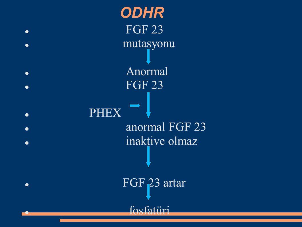 ODHR FGF 23 mutasyonu Anormal PHEX anormal FGF 23 inaktive olmaz