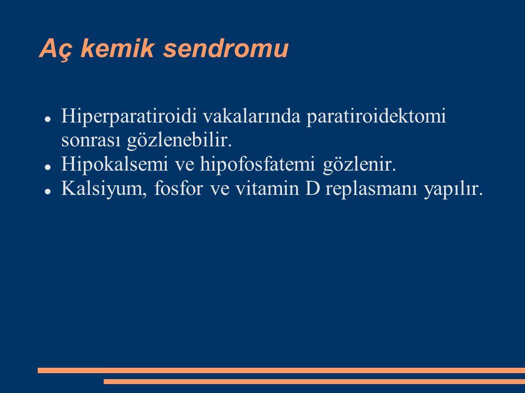 Aç kemik sendromu Hiperparatiroidi vakalarında paratiroidektomi sonrası gözlenebilir. Hipokalsemi ve hipofosfatemi gözlenir.