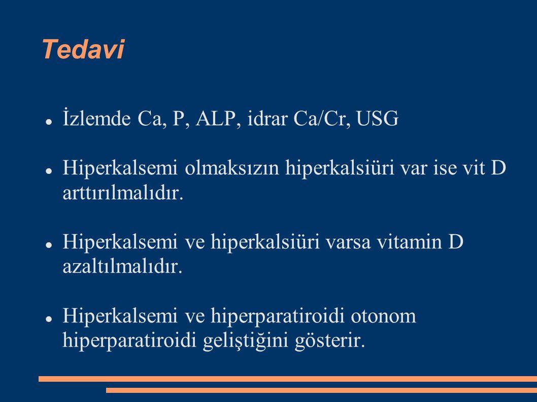 Tedavi İzlemde Ca, P, ALP, idrar Ca/Cr, USG