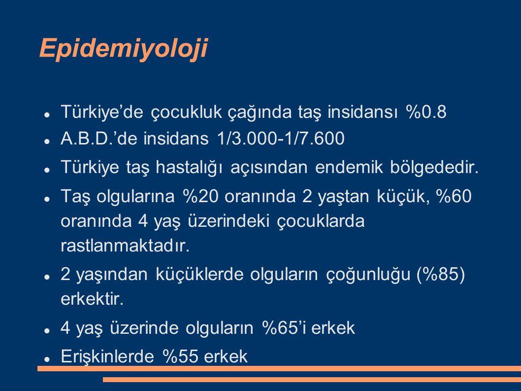 Epidemiyoloji Türkiye'de çocukluk çağında taş insidansı %0.8