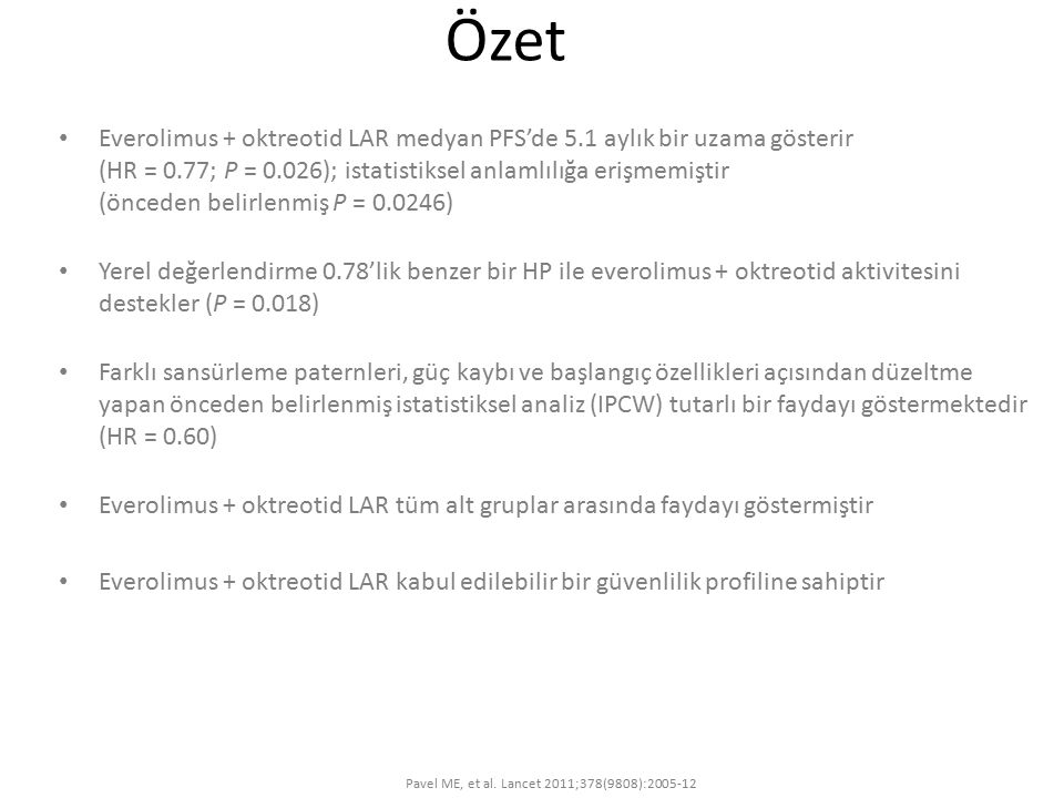 Pavel ME, et al. Lancet 2011;378(9808):2005-12