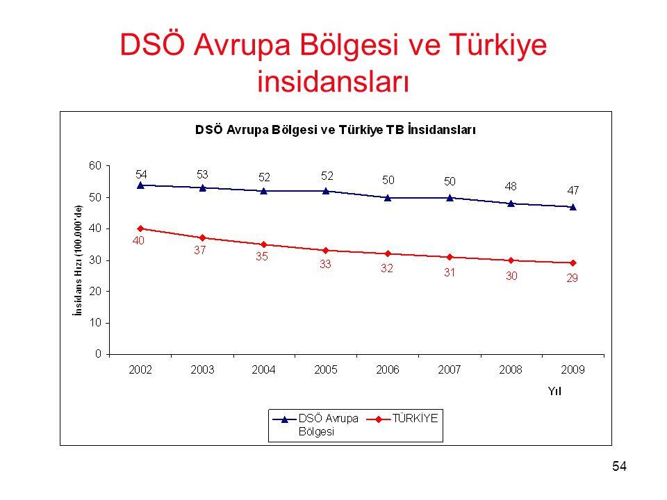 DSÖ Avrupa Bölgesi ve Türkiye insidansları