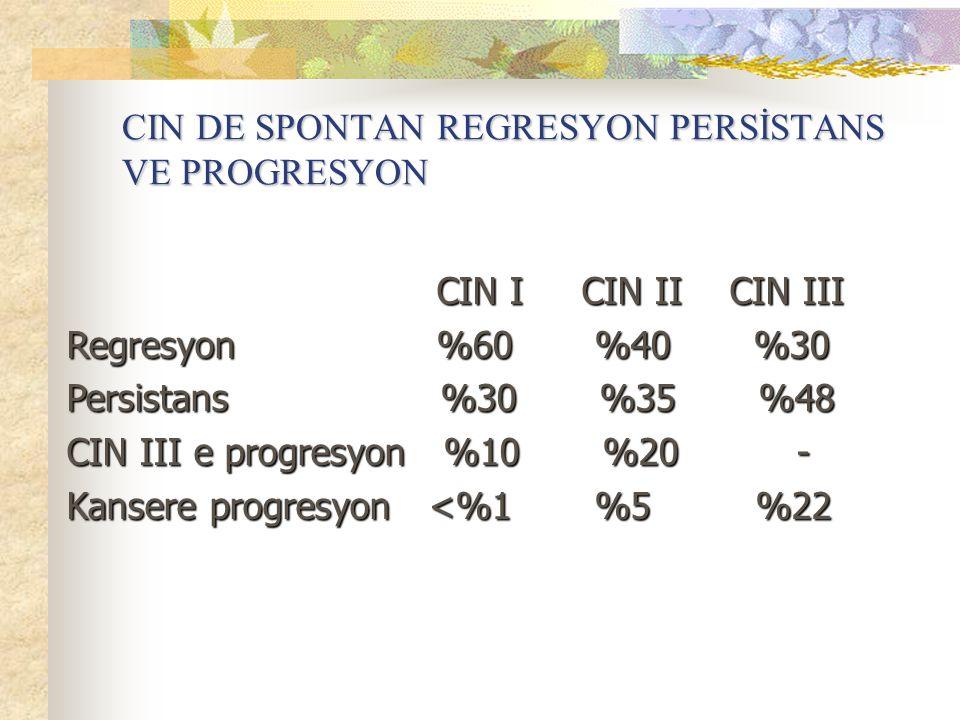CIN DE SPONTAN REGRESYON PERSİSTANS VE PROGRESYON