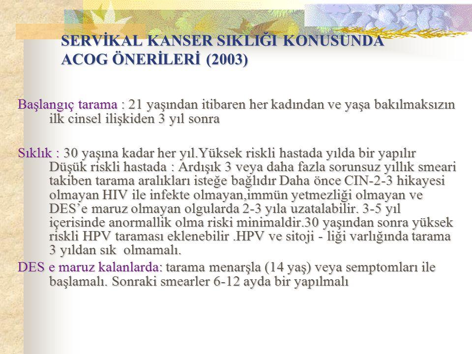 SERVİKAL KANSER SIKLIĞI KONUSUNDA ACOG ÖNERİLERİ (2003)