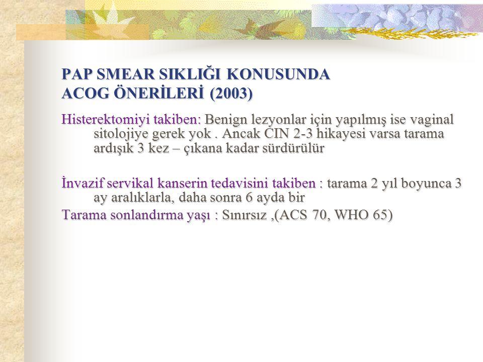PAP SMEAR SIKLIĞI KONUSUNDA ACOG ÖNERİLERİ (2003)