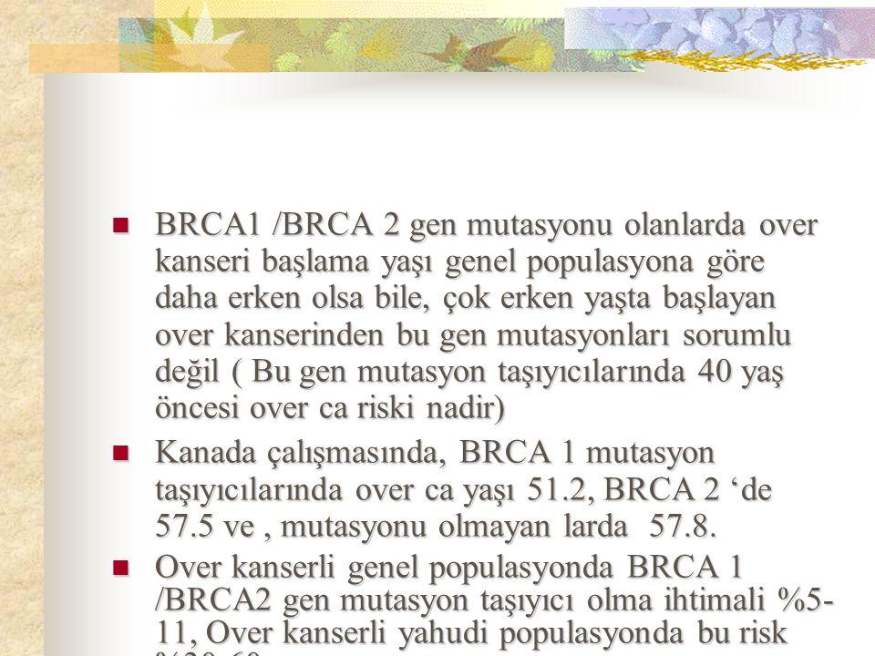 BRCA1 /BRCA 2 gen mutasyonu olanlarda over kanseri başlama yaşı genel populasyona göre daha erken olsa bile, çok erken yaşta başlayan over kanserinden bu gen mutasyonları sorumlu değil ( Bu gen mutasyon taşıyıcılarında 40 yaş öncesi over ca riski nadir)