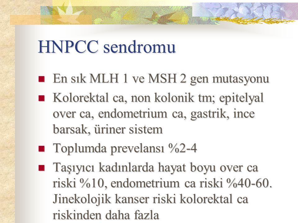 HNPCC sendromu En sık MLH 1 ve MSH 2 gen mutasyonu