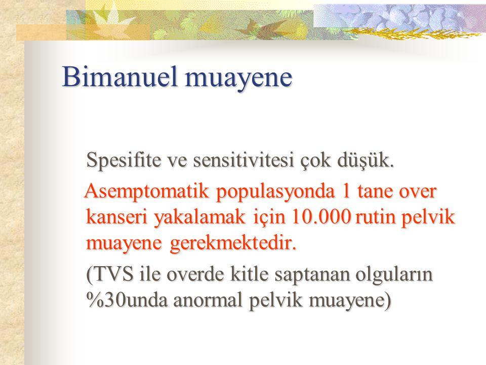 Bimanuel muayene Spesifite ve sensitivitesi çok düşük.
