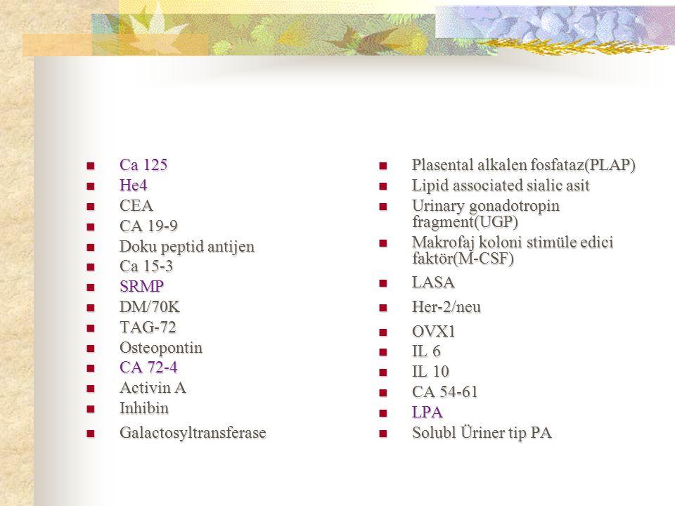 Ca 125 He4. CEA. CA 19-9. Doku peptid antijen. Ca 15-3. SRMP. DM/70K. TAG-72. Osteopontin. CA 72-4.