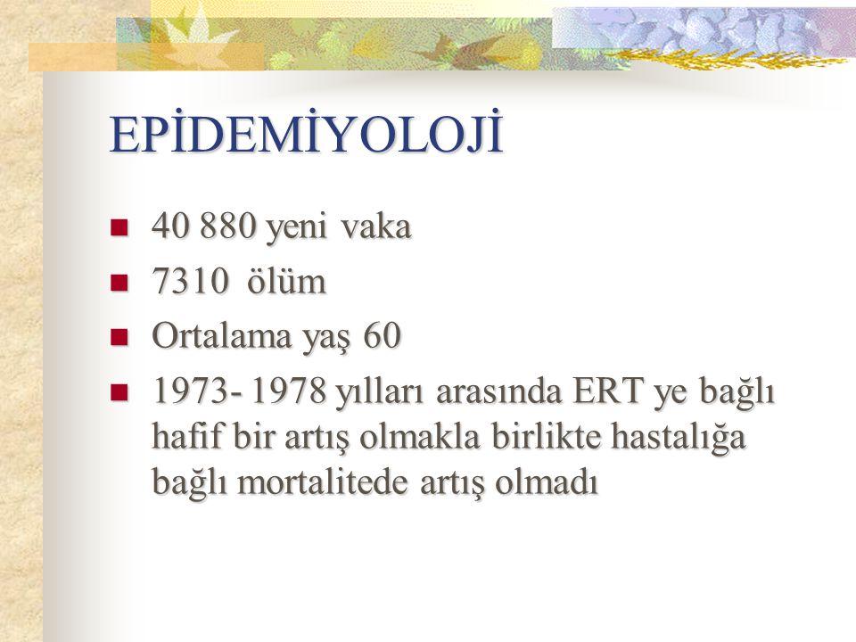 EPİDEMİYOLOJİ 40 880 yeni vaka 7310 ölüm Ortalama yaş 60