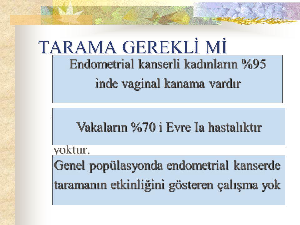 TARAMA GEREKLİ Mİ Endometrial kanserli kadınların %95