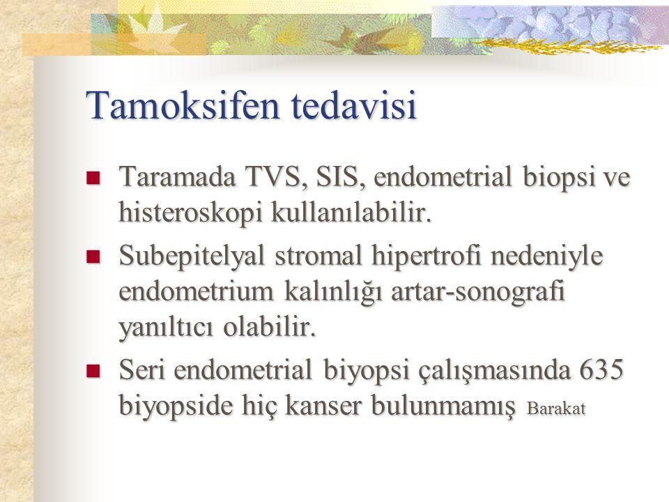 Tamoksifen tedavisi Taramada TVS, SIS, endometrial biopsi ve histeroskopi kullanılabilir.