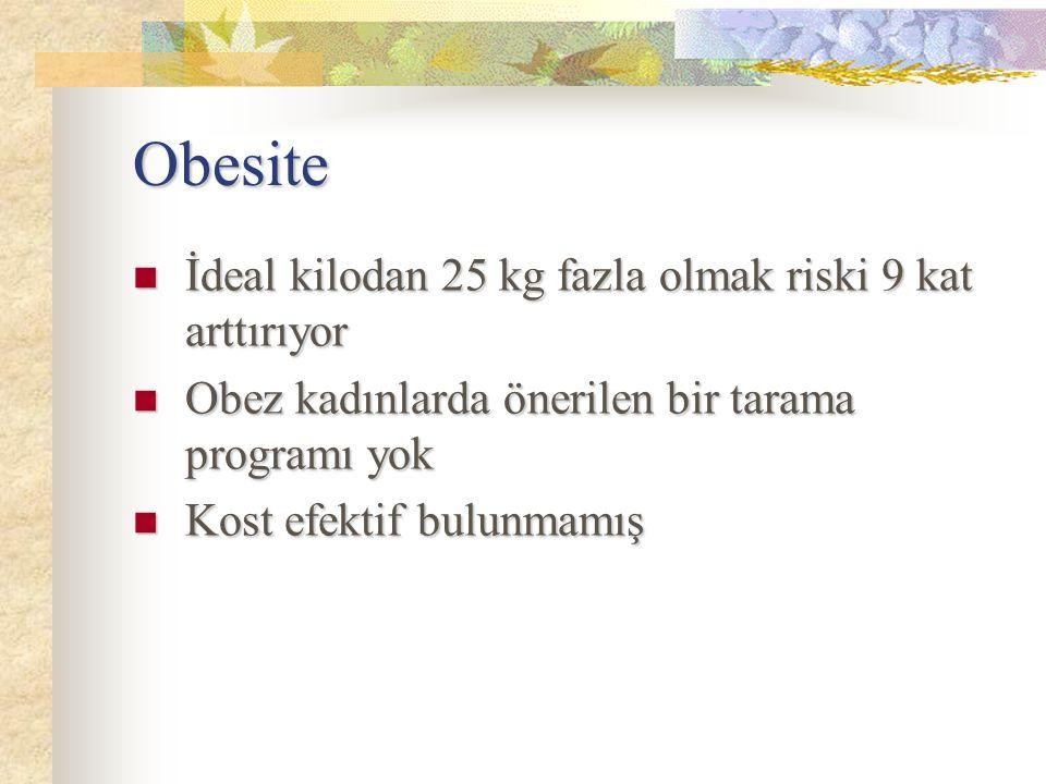 Obesite İdeal kilodan 25 kg fazla olmak riski 9 kat arttırıyor