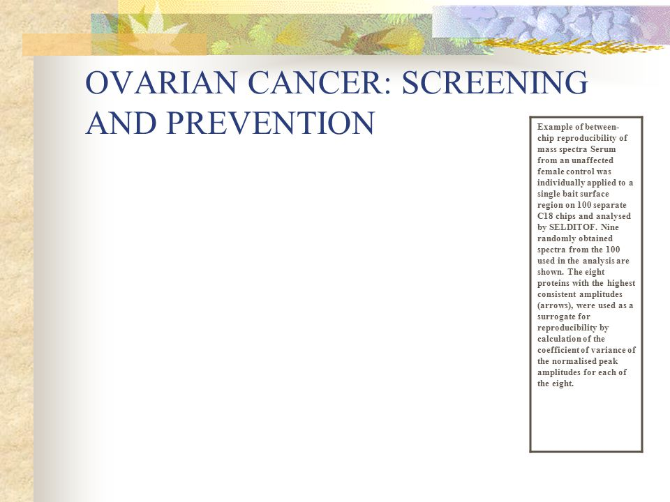 OVARIAN CANCER: SCREENING AND PREVENTION