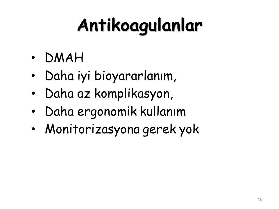 Antikoagulanlar DMAH Daha iyi bioyararlanım, Daha az komplikasyon,