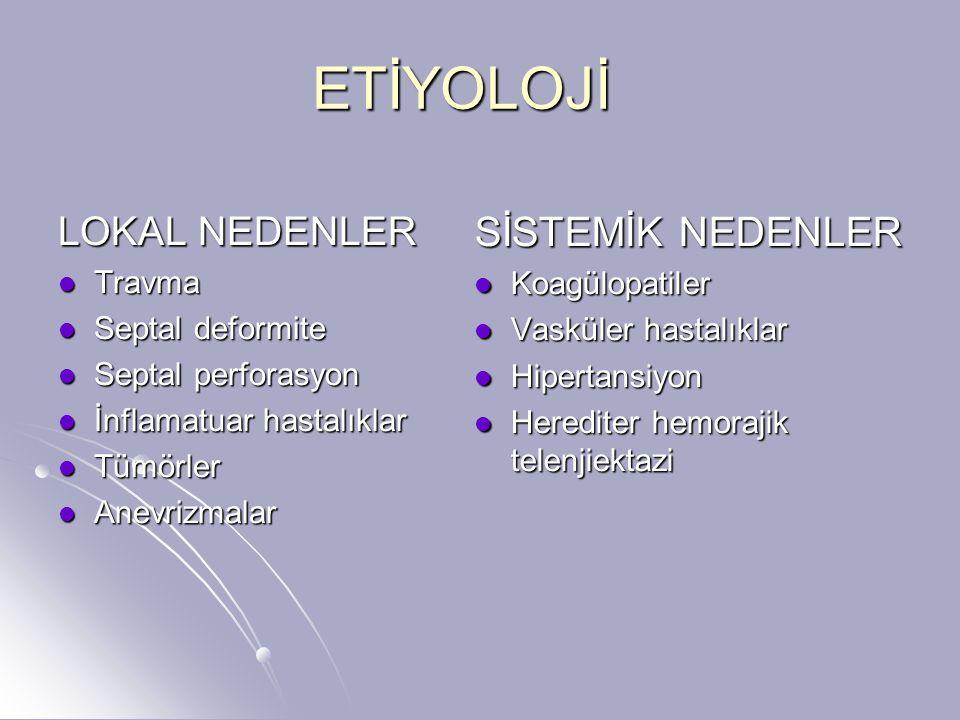 ETİYOLOJİ SİSTEMİK NEDENLER LOKAL NEDENLER Travma Koagülopatiler
