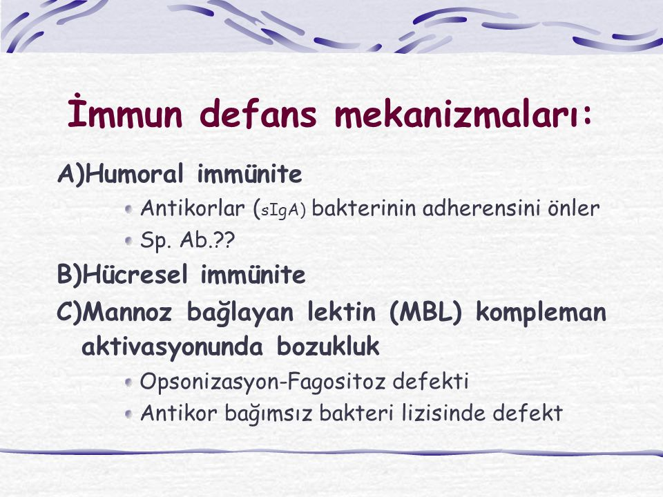 İmmun defans mekanizmaları: