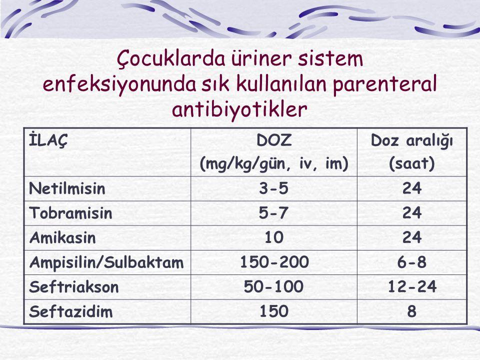 Çocuklarda üriner sistem enfeksiyonunda sık kullanılan parenteral antibiyotikler
