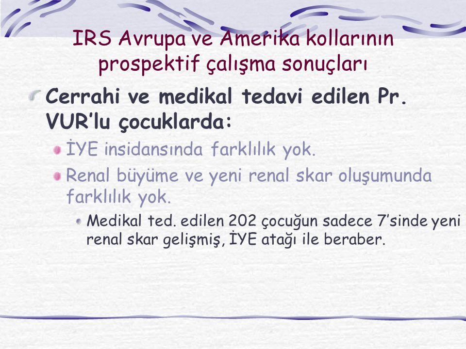 IRS Avrupa ve Amerika kollarının prospektif çalışma sonuçları