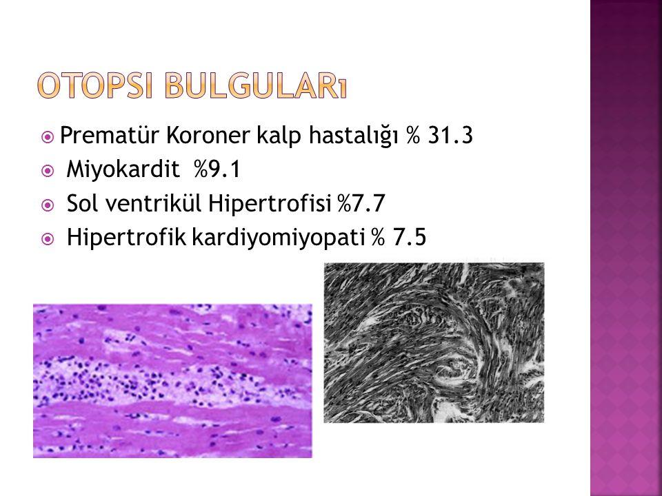 Otopsi Bulguları Prematür Koroner kalp hastalığı % 31.3