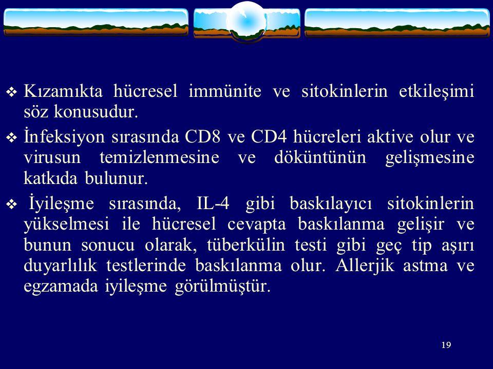 Kızamıkta hücresel immünite ve sitokinlerin etkileşimi söz konusudur.