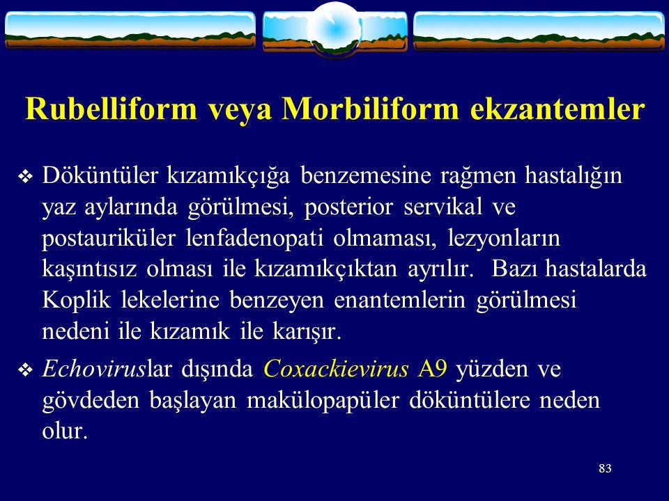 Rubelliform veya Morbiliform ekzantemler