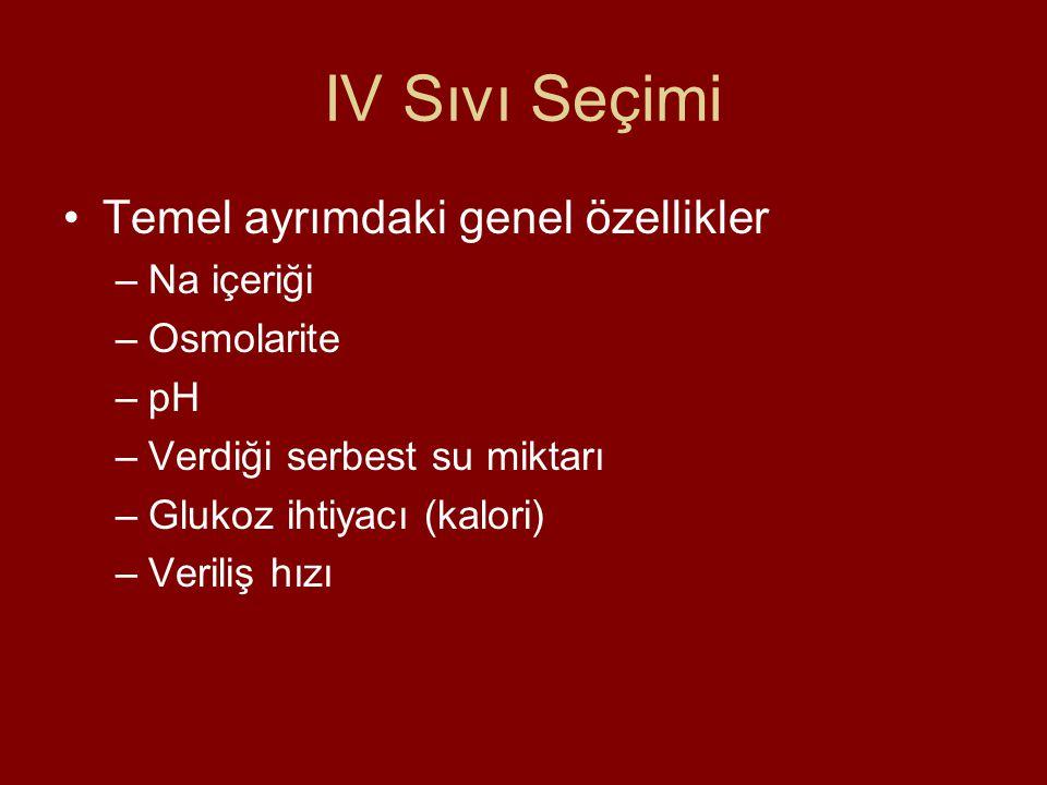 IV Sıvı Seçimi Temel ayrımdaki genel özellikler Na içeriği Osmolarite